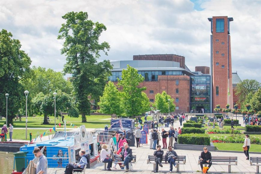 A view across Bancroft Gardens outside the RSC in Stratford Upon Avon